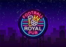 Enseigne au néon royal de bar du football Logo de barre de sport de modèle de conception dans le style au néon, bannière légère,  Illustration Libre de Droits