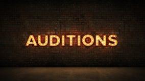 Enseigne au néon sur le fond de mur de briques - auditions rendu 3d illustration libre de droits