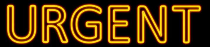 Enseigne au néon urgent Photos stock