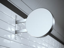 Enseigne blanche sur un mur avec rendu 3d Photo libre de droits