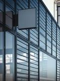 Enseigne carrée vide sur le mur moderne avec des fenêtres rendu 3d Photos stock