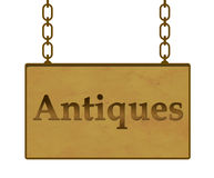 Enseigne d'antiquités Photographie stock libre de droits