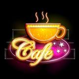 Enseigne de lampe au néon pour le café Image libre de droits