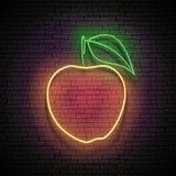 Enseigne de lueur de cru avec Apple jaune, fruit organique illustration de vecteur