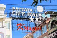 Enseigne de promenade de ville à Pattaya, Pattaya, Thaïlande Photographie stock libre de droits