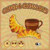 Enseigne de vintage pour un café avec les tasses de café d'image Images libres de droits