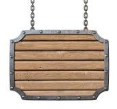 Enseigne en bois de planches de taverne médiévale Photo libre de droits