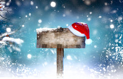 Enseigne en bois de vacances de Noël photographie stock libre de droits