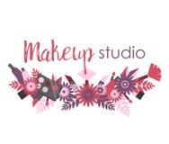 Enseigne ou logo pour le studio de maquillage Photographie stock libre de droits