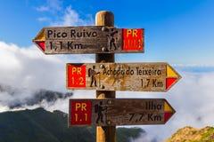 Enseigne Pico Ruivo en la Madère Portugal Photos stock