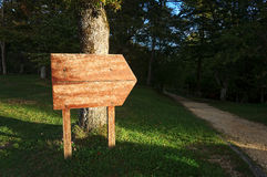 Enseigne vide près de chemin dans la forêt Image stock