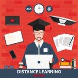 Enseignement à distance Écriture en ligne d'éducation Illustration de vecteur Photos libres de droits