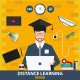 Enseignement à distance Conception en ligne d'éducation Illustration de vecteur Image stock