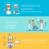 Enseignement aux patients plat linéaire d'infirmière perioperative Photo stock