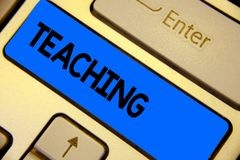 Enseignement d'écriture des textes d'écriture Acte de signification de concept de fournir l'information, expliquant un sujet à un photographie stock libre de droits