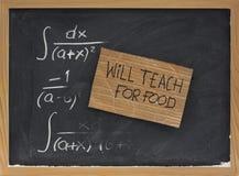 Enseignera pour la nourriture - le carton se connectent le tableau noir photos stock