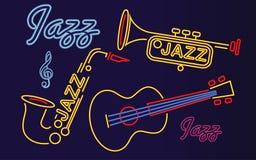 Enseignes au néon d'instruments de jazz illustration stock