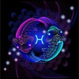 Enseignes au néon du zodiaque : Poissons Photo stock