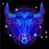 Enseignes au néon du zodiaque : Taureau Photo libre de droits