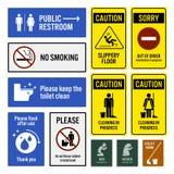 Enseignes de panneau d'avertissement d'avis et de toilettes de toilette Images libres de droits