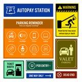 Enseignes de rappel et d'information de parking illustration de vecteur