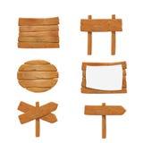 Enseignes en bois, ensemble en bois de panneau d'affichage de signe de flèche de vecteur illustration libre de droits