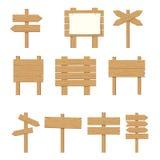 Enseignes en bois, ensemble en bois de signe de flèche illustration stock