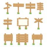 Enseignes en bois, ensemble en bois de signe de flèche illustration de vecteur