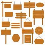 Enseignes en bois et ensemble en bois de planche d'isolement sur le fond blanc Signes et symboles de communiquer un message sur l Images libres de droits