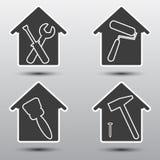 Ensemble à la maison d'icône de réparation Images stock