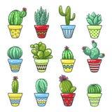 Ensemble à la maison de cactus illustration stock