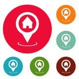 Ensemble à la maison de cercle d'icônes d'indicateur de carte illustration de vecteur