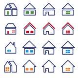Ensemble à la maison de l'icône 16 - contour de couleur illustration de vecteur
