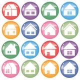 Ensemble à la maison de l'icône 16 - couleur autour de forme illustration de vecteur