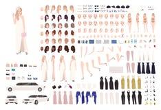 Ensemble à la mode d'animation de femme de célébrité ou kit de DIY Paquet d'éléments de corps, gestes, postures, soirée élégante illustration libre de droits