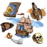 Ensemble à main levée de pirate pour votre conception Éléments tirés par la main de pirate illustration libre de droits