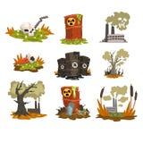 Ensemble écologique de problèmes, pollution de l'eau, la terre, air, illustration de vecteur de concept de pollution environnemen