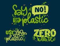 Ensemble écologique des textes Employez moins en plastique, ne dites non à l'expression de rebut en plastique et zéro de lettrage illustration stock