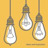 Ensemble électrique d'icône de vecteur d'ampoule Photo stock