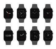 Ensemble électronique de visage d'horloge de dispositifs de Smartwatch - illustration d'isolement de vecteur Photos stock