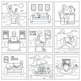 Ensemble éloigné de bannière de travail d'ordinateur, style d'ensemble illustration stock