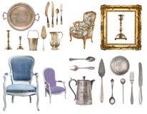 Ensemble énorme d'articles antiques Articles de ménage de cru, argenterie, meubles et plus D'isolement sur le fond blanc image stock