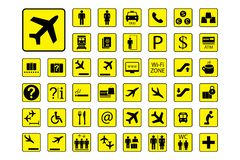 Ensemble énorme d'icônes ou de signes d'aéroport illustration de vecteur