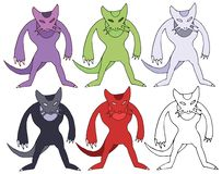 Ensemble étranger d'aspiration de main de griffonnage de couleur de monstre de rat de chasseur de bande dessinée d'impression illustration de vecteur