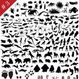# ensemble 3 de silhouettes animales illustration stock
