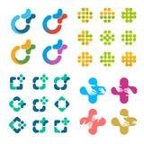 Ensemble abstrait d'isolement de logo de vecteur Collection croisée médicale de logotypes Photo libre de droits