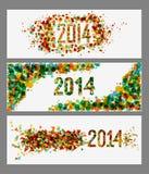 Ensemble abstrait de bannière de couleurs de la bonne année 2014 Image libre de droits