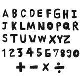 Ensemble abstrait de croquis de griffonnage d'aspiration de main d'alphabet anglais Photo libre de droits