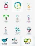Ensemble abstrait de logo, formes transparentes géométriques Image stock