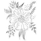 Ensemble abstrait tir? par la main de wildflowers d'isolement sur le blanc ?l?ments de conception florale pour votre carte de voe illustration stock